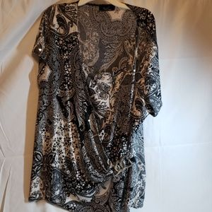 🎁Rachel Top blouse, black /gray&/white
